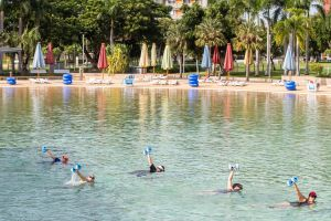 Aqua fitness in the Wave Lagoon - Redcliffe Tourism